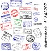 A mix of passport stamps from around the world - stock vector