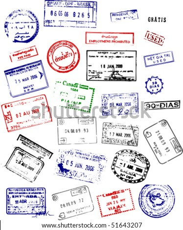 A mix of passport stamps from around the world