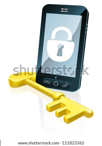 A mobile phone security concept. Mobile phone with gold key and padlock lock icon on the screen - stock vector
