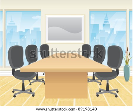 A modern boardroom with conference table and chairs. - stock vector