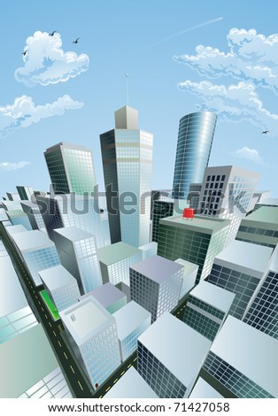 A modern cityscape of a city centre financial district with high rise skyscrapers - stock vector