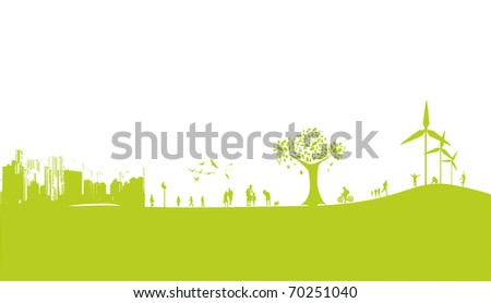a modern green frame with people and buildings - stock vector