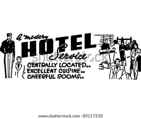 A Modern Hotel Service - Retro Ad Art Banner - stock vector
