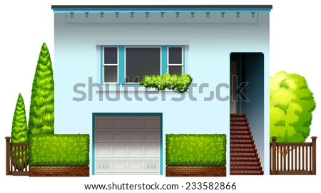 A modern house on a white background  - stock vector