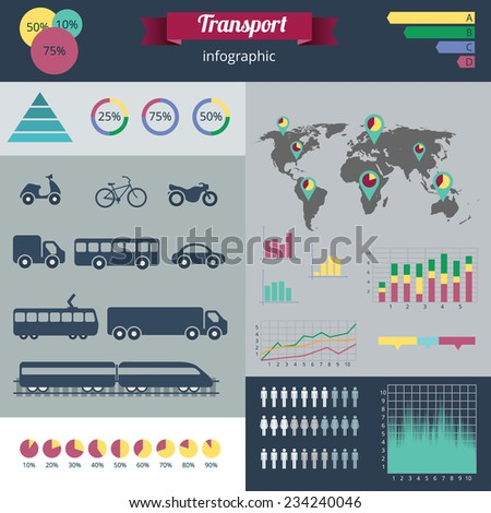 A modern set of infographics and icons city transport. Abstract infographics design. Gear transmission and different urban transport. - stock vector