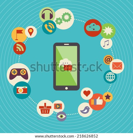 A modern set of infographics and icons Social Media. Abstract infographics design. Social network, communication in the global computer networks. - stock vector