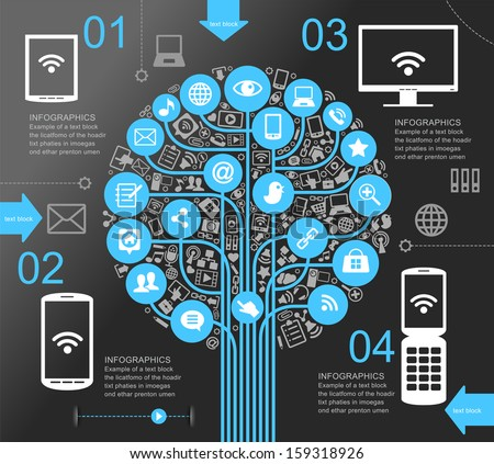 A modern set of infographics and icons Social Media. Icons of network and technology in the form of a tree. Template with text and numbers. Background to the concept of adverse communication. - stock vector
