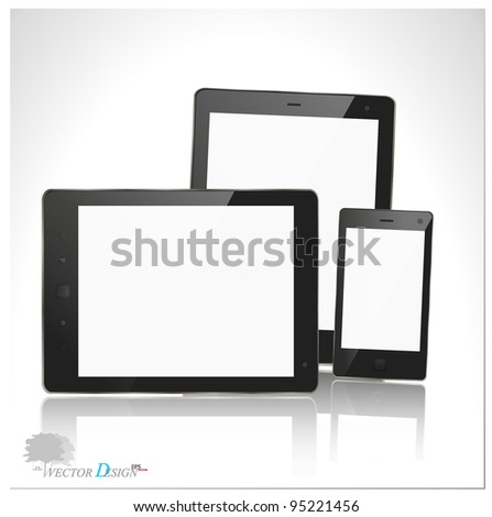 A modern tablet pc and smart phone for mobile communication. Vector illustration. - stock vector