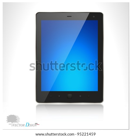 A modern tablet pc with blue screen. Vector illustration.