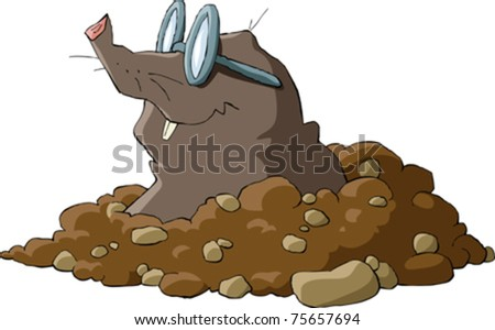 A mole wearing glasses and a hole, vector - stock vector