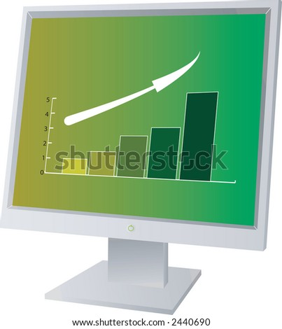 A monitor lcd with sale figures on it - stock vector