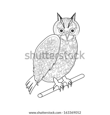 A monochrome sketch of an owl. Vector-art illustration on a white background - stock vector
