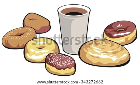 A morning shot of sugar and caffeine. All separate layers in the vector version. - stock vector