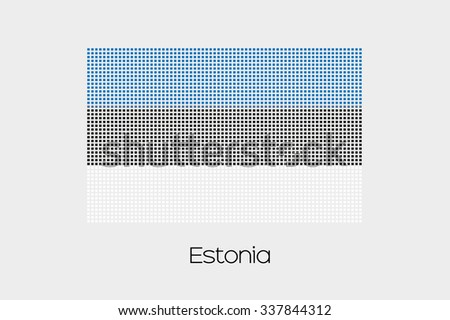 A Mosaic Flag Illustration of the country of Estonia - stock vector