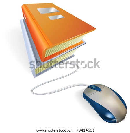 A mouse connected to a stack of books. Concept for online internet learning, education, information storage or e-books. - stock vector