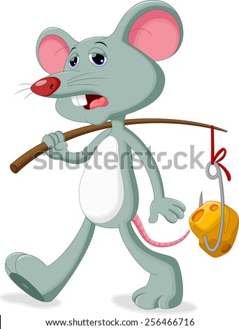 A mouse with a sad face going to bring a slice of cheese - stock vector