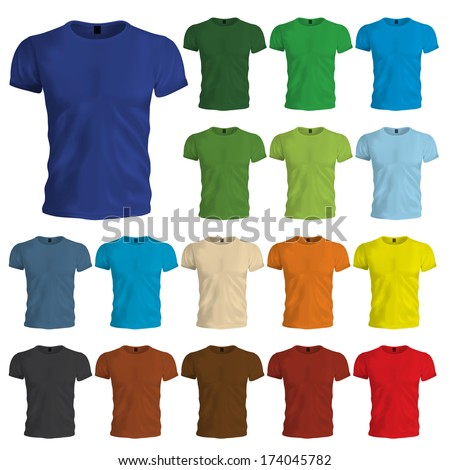 A multicolored set of blank tshirt templates. Easily change the shirt color by adjusting the color of the shape in the background.