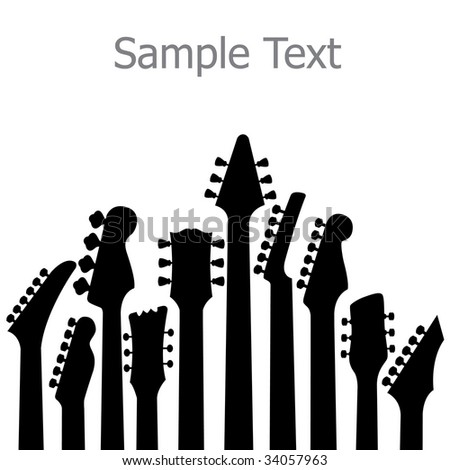A music, vector background with Guitar headstocks - stock vector