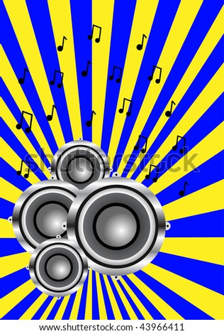 A musical illustration with a group of audio speakers on a blue and yellow sunburst background with dancers in silhouette saved in EPS10 format