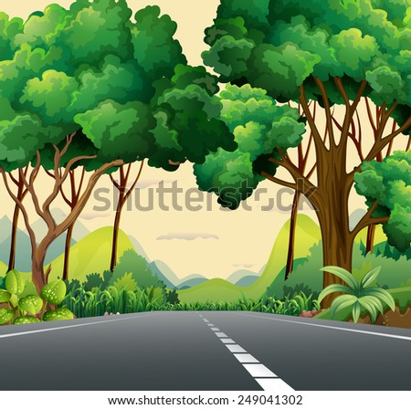 A narrow road surrounded with plants - stock vector