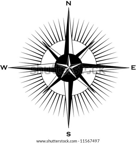 A nautically themed compass - stock vector