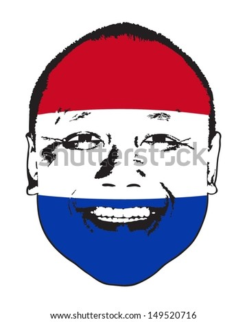 A Netherlands flag on a face, isolated against white.  - stock vector