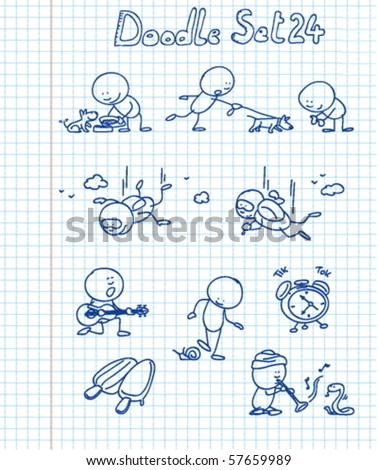 A new funny and adorable doodle set with a cute character in different situations - stock vector