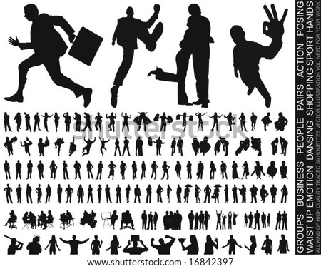a new huge collection of excellent high quality traced people silhouettes vector illustration - stock vector