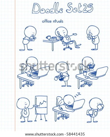 a new set of funny and adorable office rituals doodles - stock vector