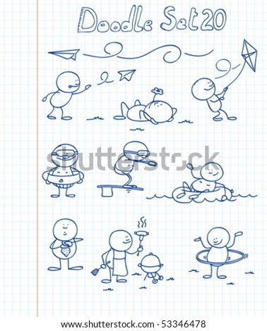 A new set of funny doodles in different situations - stock vector