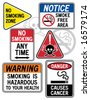 "A new twist on some old signage: Collection #1 of six vector ""No Smoking"" signs. Font used is my own design. - stock vector"