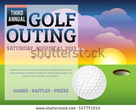 A nice design for a golf tournament invitation. Elements are layered for easy updating of information or adding/removing from the design. EPS 10. File contains transparencies and mask. - stock vector