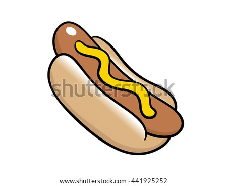 A nice simple hotdog. It's topped with mustard, which can easily be turned into Ketchup if you change the color to red! - stock vector
