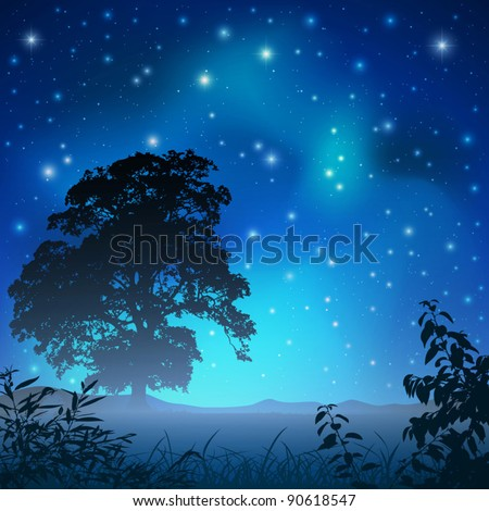 A Night Sky with Big Tree and Stars - stock vector