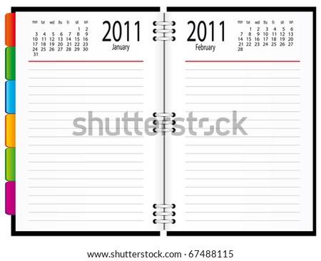 A notebook with a calendar. Vector illustration - stock vector