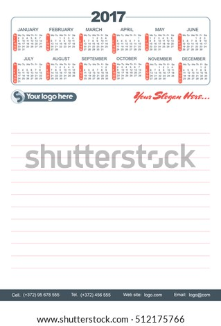 A5 notepad with calendar grid and company details.