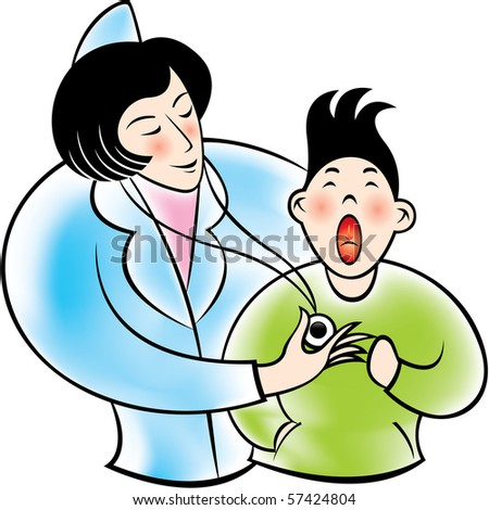 A nurse checkup with little boy. - stock vector