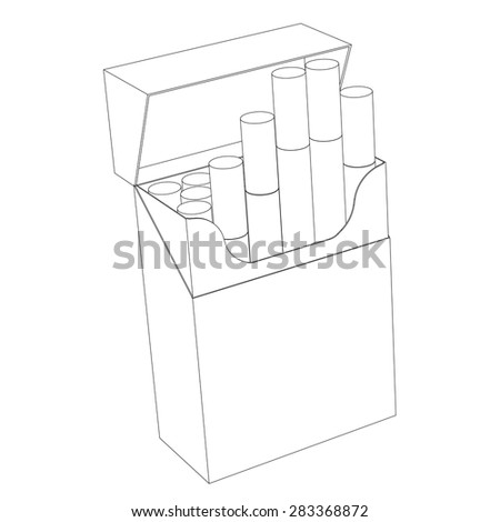 A pack of cigarettes isolated on a white background circuit - stock vector