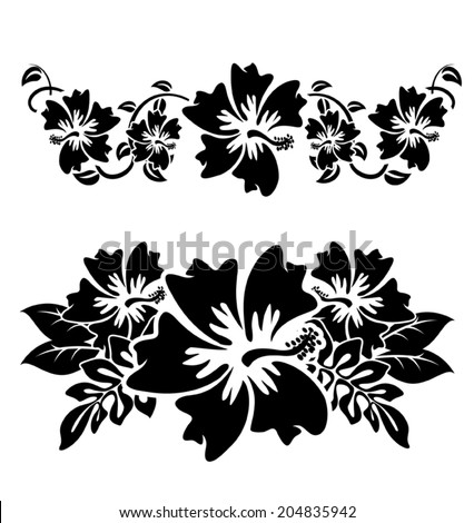 A pair of black and white hawaian hibiscus flowers - stock vector