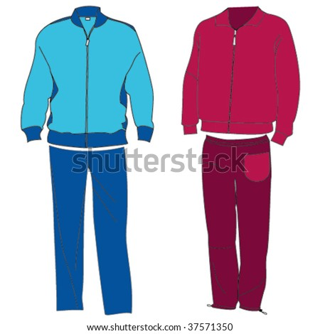 A pair of colored tracksuits