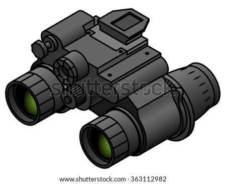 A pair of night vision binoculars. - stock vector