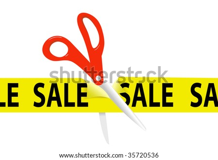A pair of orange scissors cut a bright yellow SALE ribbon tape to open a sale at a retail store or website. - stock vector