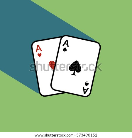 A pair of poker cards with shadow isolated on green background