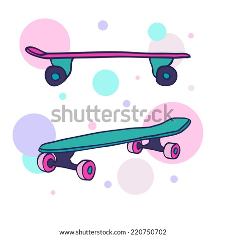 A pair of two colorful hand drawn skateboards on abstract background. Vector illustration. - stock vector