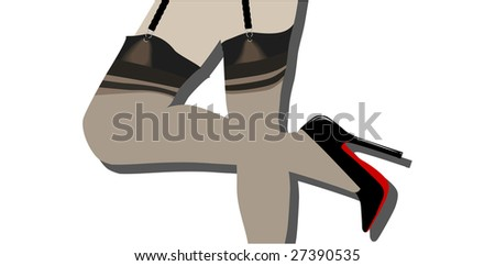 A pair of vector stockings legs are included. - stock vector