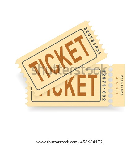 A pair of vintage tickets with a tear line and a tear part. No transparency. Ticket isolated illustration. Vector