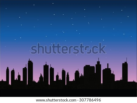 A panorama picture of night city skyline - stock vector