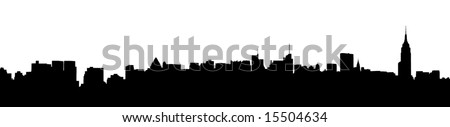 A panoramic silhouette of the New York City Skyline - stock vector