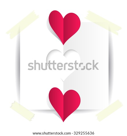 A paper template stencil heart taped to the background and two red origami hearts. Two hearts for Valentines day card on white background. Background with cut paper heart. Romantic Illustration  - stock vector