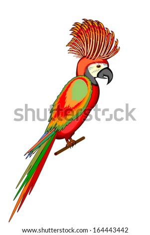 A parrot macaw isolated on a white background. Vector-art illustration - stock vector